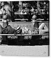 Bench Bums In Black And White Acrylic Print