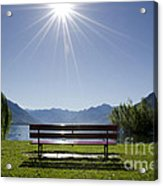 Bench On The Lakefront Acrylic Print
