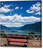 Bench With Panorama View Acrylic Print