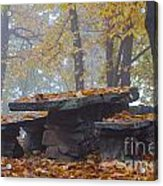 Benches And Table In Autumn Acrylic Print