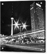 Berlin Alexanderplatz At Night Acrylic Print by Bernd Schunack