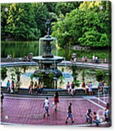 Bethesda Fountain Overlooking Central Park Pond Acrylic Print by Paul Ward