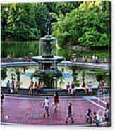 Bethesda Fountain Overlooking Central Park Pond Acrylic Print