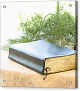 Bible And Microphone On Table Acrylic Print