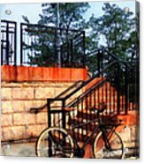 Bicycle By Train Station Acrylic Print