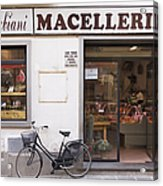 Bicycle In Front Of Italian Delicatessen Acrylic Print
