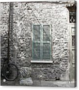 Bicycle Leaning Against A Stone House Acrylic Print