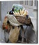 Bicycle Loaded With Food, Delhi, India Acrylic Print