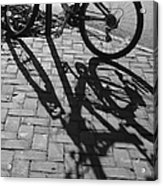 Bicycle Shadows In Black And White Acrylic Print