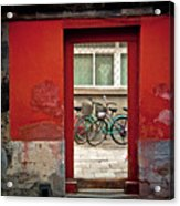 Bicycles In Red Doorway Acrylic Print