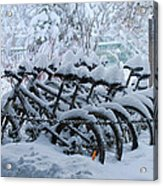 Bicycles In The Snow Acrylic Print