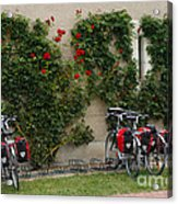 Bicycles Parked By The Wall Acrylic Print