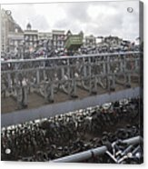 Bicycles Parked On City Sidewalk Acrylic Print