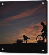 Bicyclist And Pet Silhouetted Acrylic Print