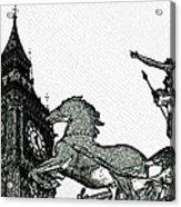 Big Ben And Boudica Charcoal Sketch Effect Image Acrylic Print