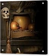 Big Pumpkin With Black Witch Hat And Broom Acrylic Print by Sandra Cunningham