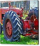 Big Red Rubber Tire Tractor Acrylic Print
