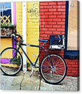 Bike Leaning On The Colorful City Walls Of Asheville  Acrylic Print