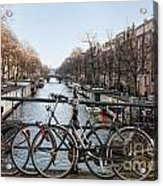 Bikes On The Canal In Amsterdam Acrylic Print