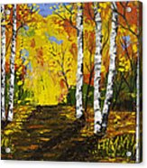 Birch Trees And Road Fall Painting Acrylic Print