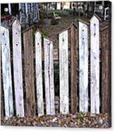 Bird House Fence With Black Cat Acrylic Print