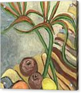 Bird Of Paradise Flowers And Fruits On A Carpet In Yellow Brown Green Acrylic Print