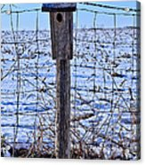 Birdhouse In The Snow Acrylic Print