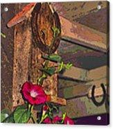 Birdhouse Morning Glories Two Acrylic Print