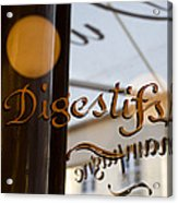 Bistro Sign For Digestives Acrylic Print
