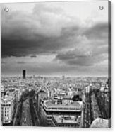 Black And White Aerial View Of An Overcast Sky Above The Eiffel Tower Acrylic Print by Stockbyte