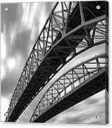Black And White Blue Water Bridge Acrylic Print
