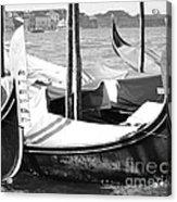 Black And White Gondolas Venice Italy Acrylic Print