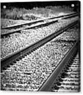 Black And White Railroad Tracks Acrylic Print