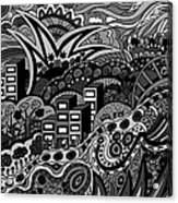 Black And White Seaside Acrylic Print