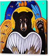 Black Bear Seraphim Photoshop Acrylic Print by Christina Miller
