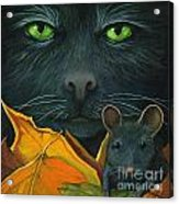 Black Cat And Mouse Acrylic Print