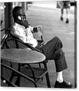 Black Man Relaxing On Sidewalks Of Asheville Acrylic Print
