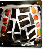 Black Mosaic Bowl Acrylic Print by Ghazel Rashid
