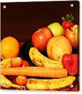 Black Plate And Fruit Acrylic Print