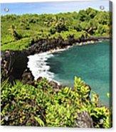 Black Sand Beach Maui Acrylic Print