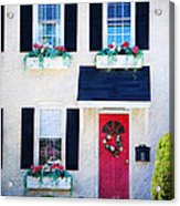 Black Window Shutters With Flowers Acrylic Print
