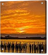 Blazing Humboldt Bay Sunset Acrylic Print