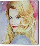 Blond Pinup  Acrylic Print by Terri Maddin-Miller