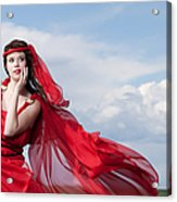 Blown Away Woman In Red Series Acrylic Print