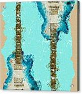 Blue Abstract Guitars Acrylic Print
