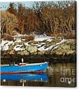 Blue And Red Boat Acrylic Print