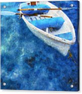 Blue And White. Lonely Boat. Impressionism Acrylic Print