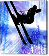 Blue And White Splashes With Ski Jump Acrylic Print