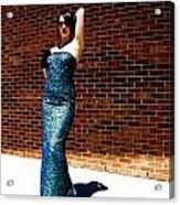 Blue Beaded Dress Acrylic Print