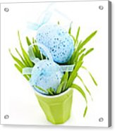 Blue Easter Eggs And Green Grass Acrylic Print